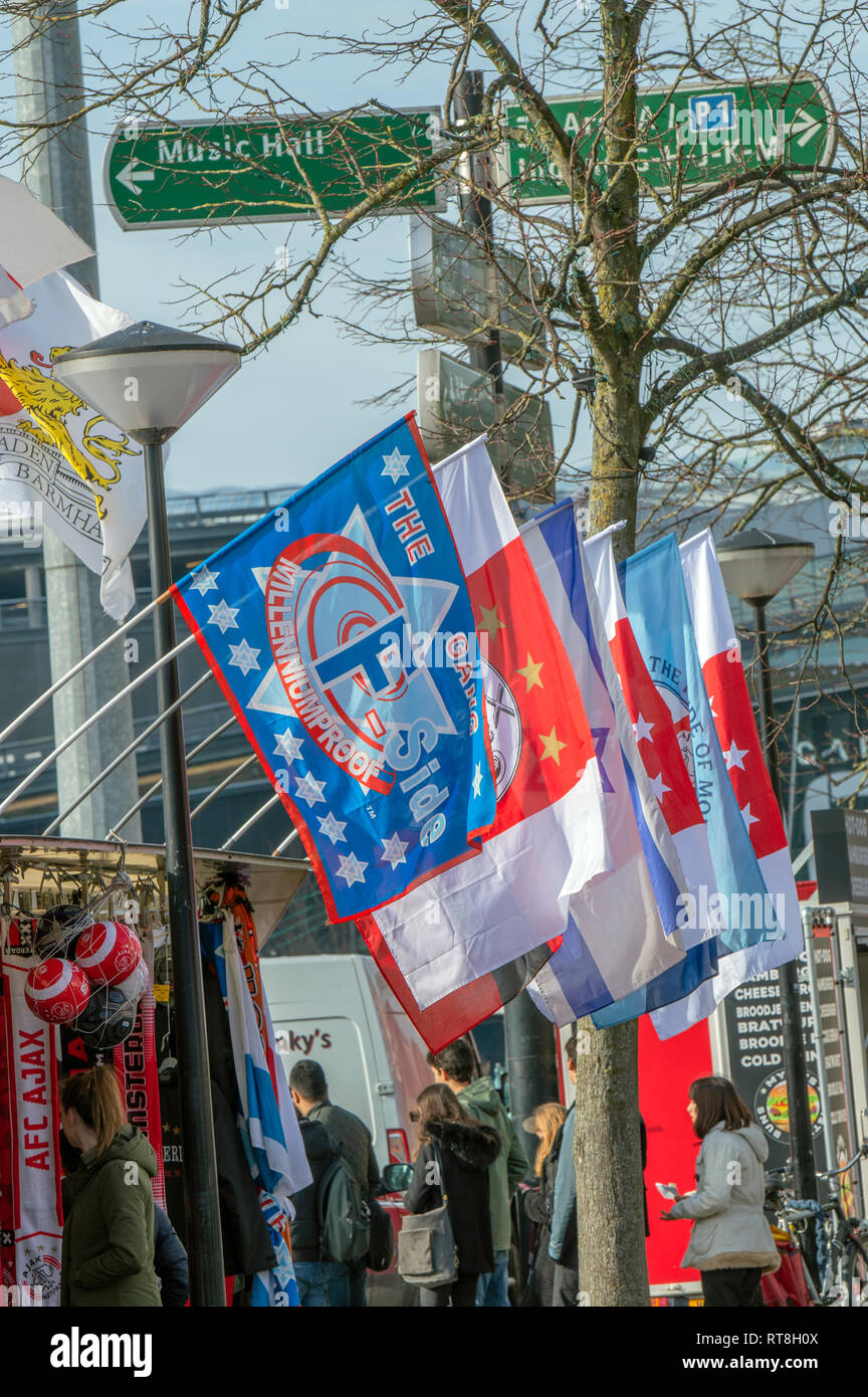 Ajax Merchandising Flags At Amsterdam The Netherlands 2019 - Stock Image