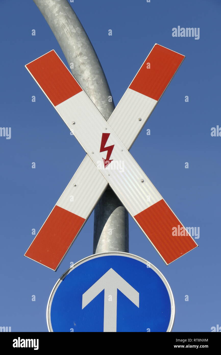 Danger sign St  Andrew's Cross in front of a railroad