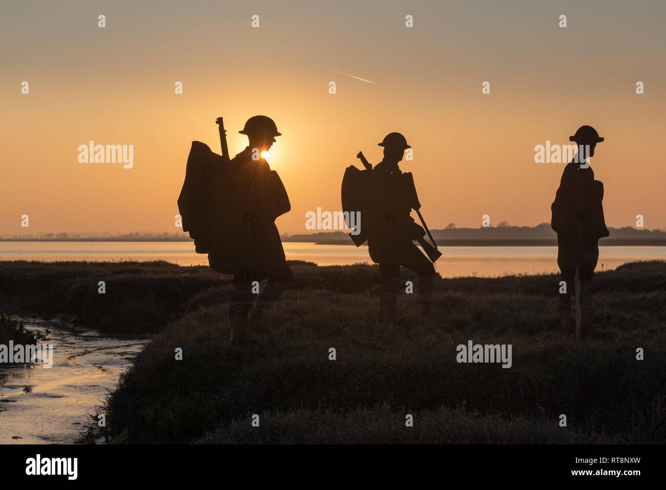 Strood, Mersea Island, Essex, UK, 27 February 2019. Mersea Island silhouettes: 51 metal cutouts recall local men who died in the Army and Navy in WWI. - Stock Image