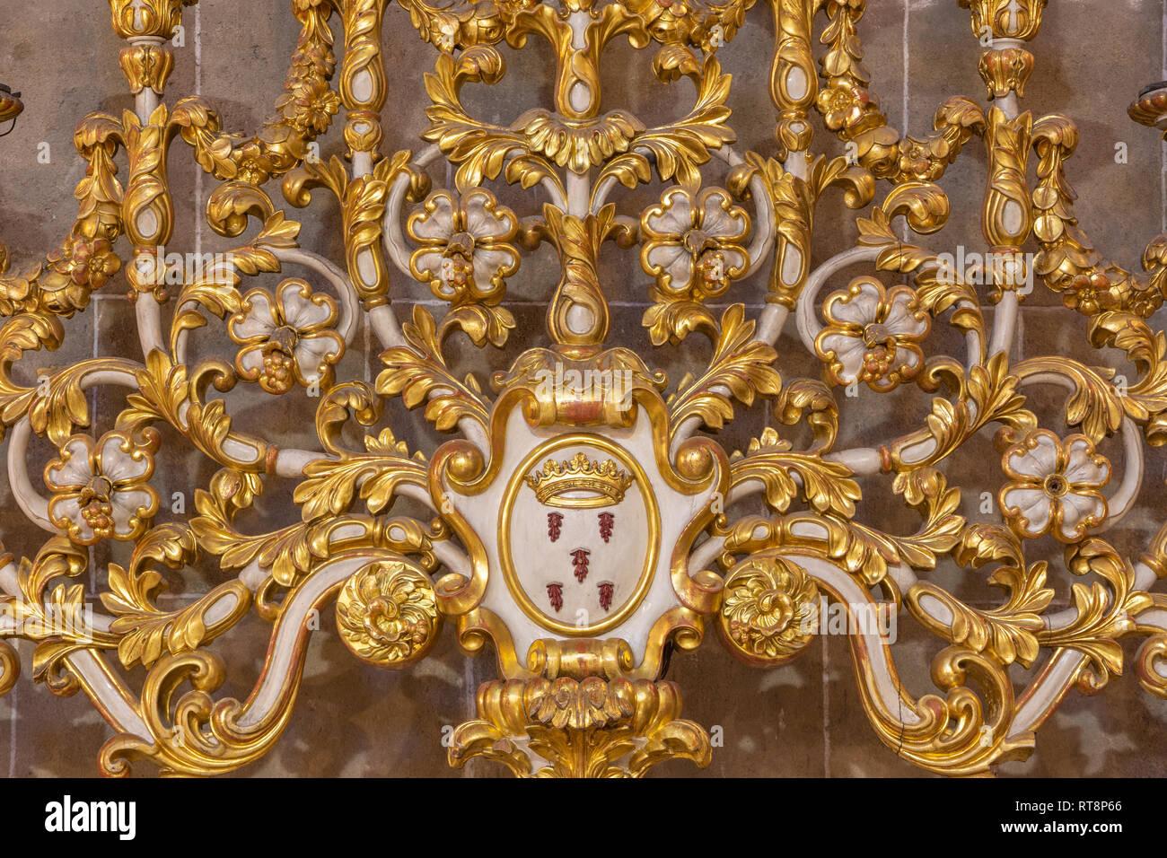PALMA DE MALLORCA, SPAIN - JANUARY 29, 2019: The detail of baroque candlestick in the church Esglesia de la Inmaculada Concepcion. - Stock Image