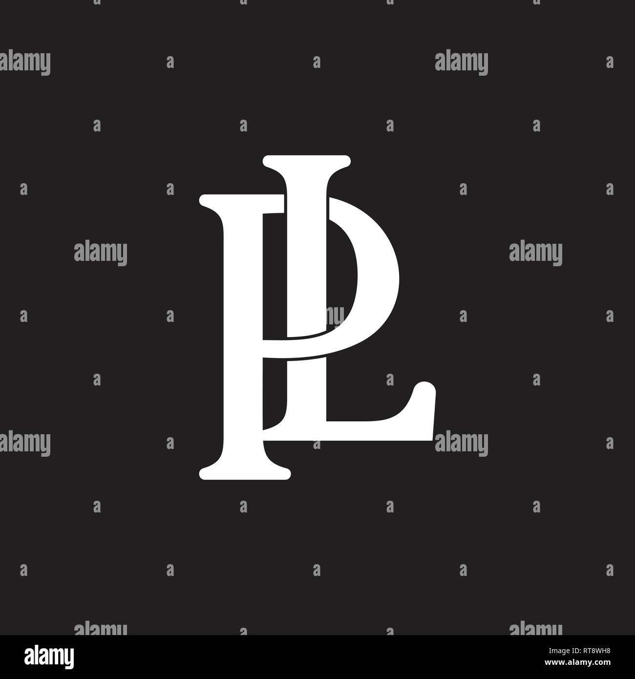 letters pl linked design logo vector Stock Vector