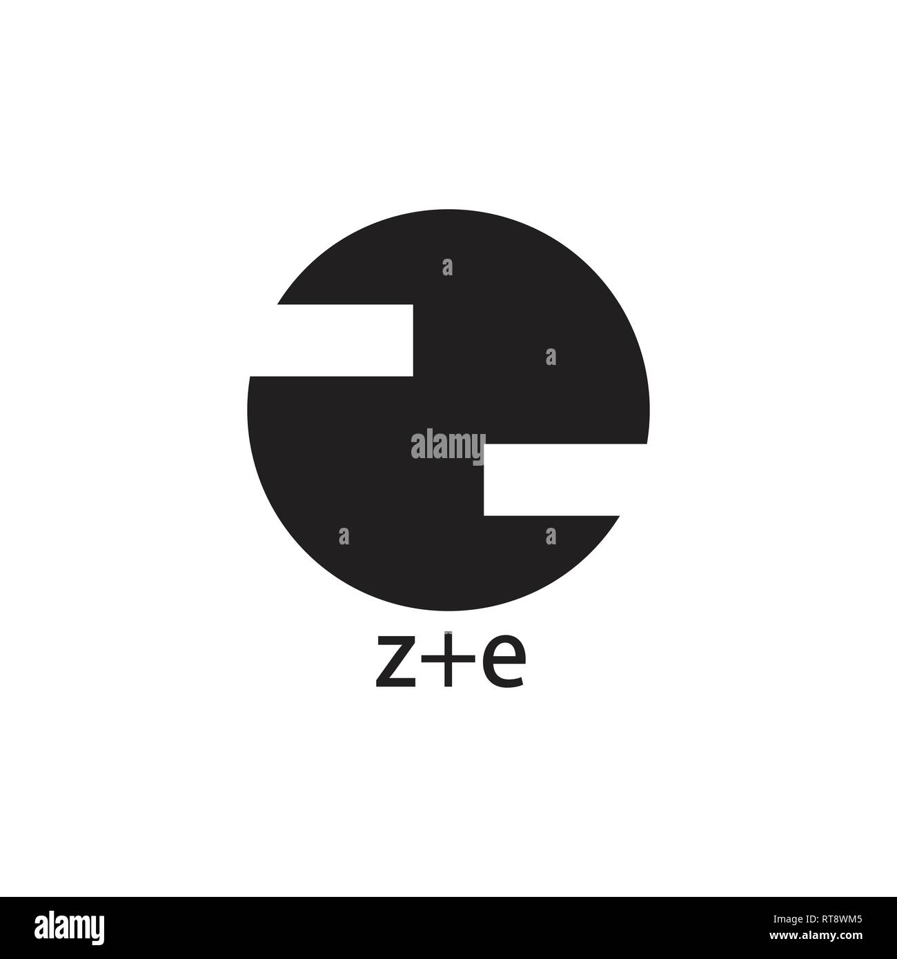 abstract letter ze circle geometric logo vector Stock Vector