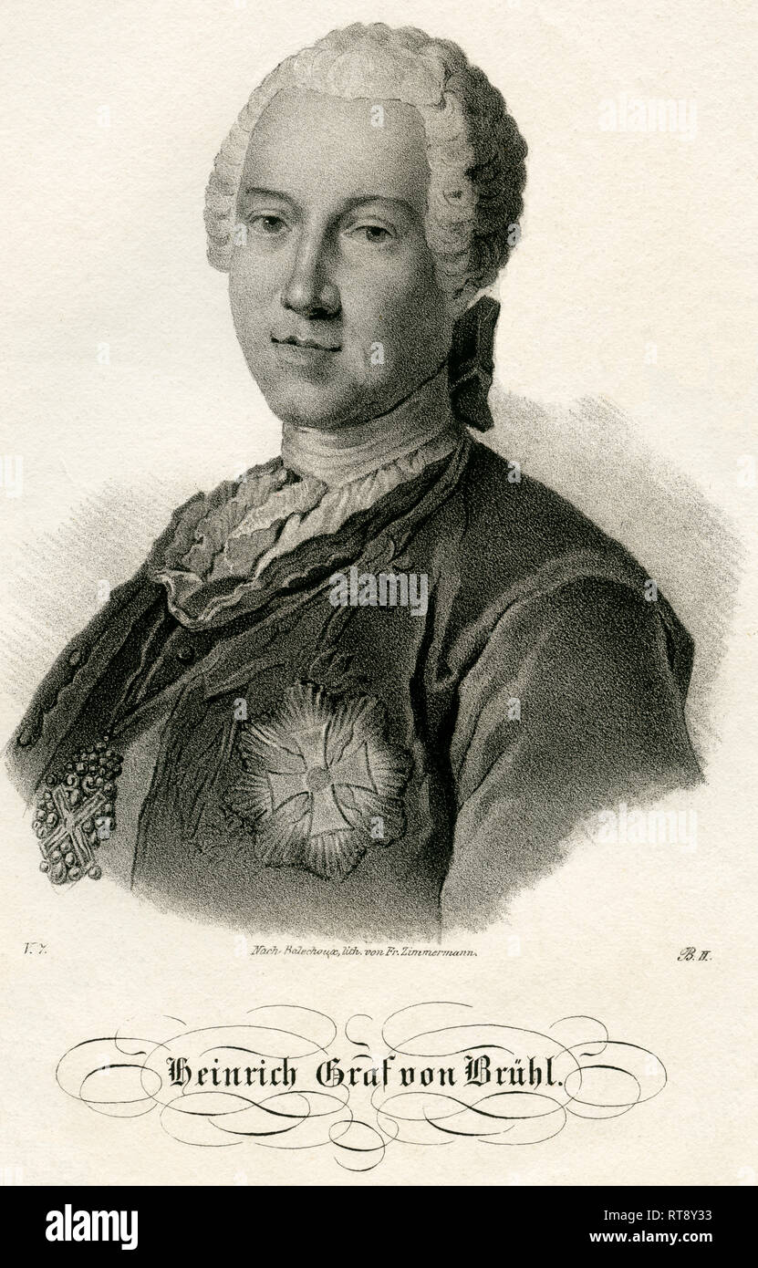 Heinrich Count von Brühl, Polish - Saxon Statesman, lithography from the book: 'Saxony ' -  museum for Saxon fatherland ', lithography by Fr. Zimmermann, around 1840., Additional-Rights-Clearance-Info-Not-Available - Stock Image