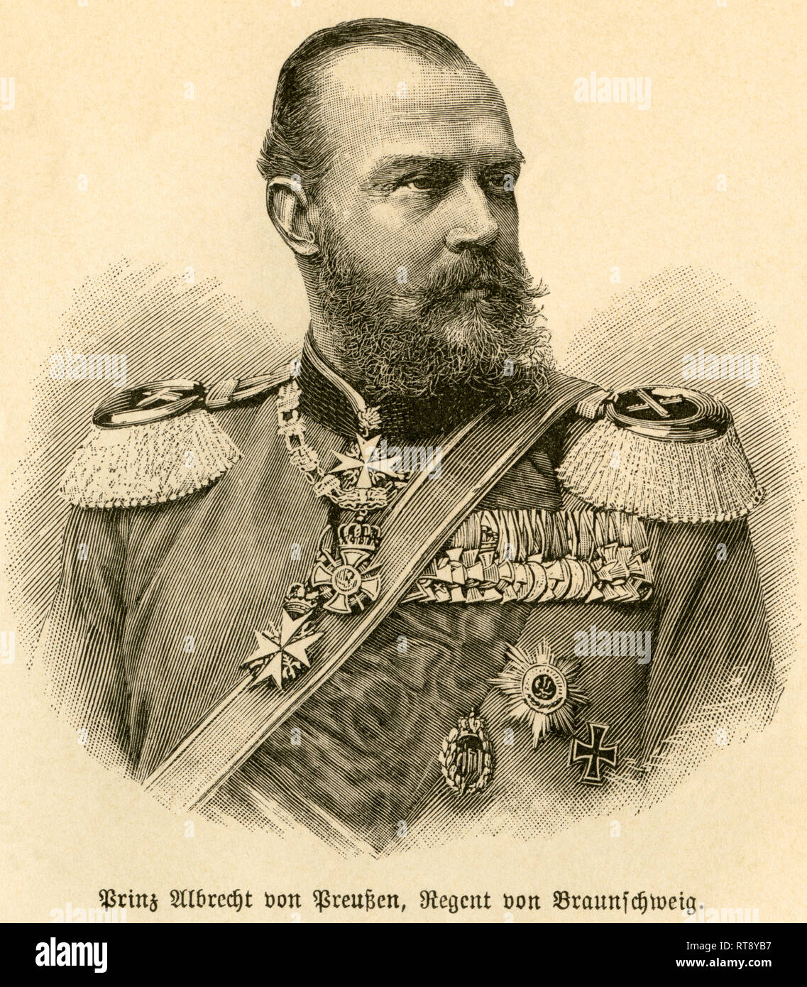 Prince Albert of Prussia, regent of the Duchy of Brunswick, portrait from: 'Deutschlands Heerführer' (German military leader), 1640-1894, portrayed by Sprößer, publishing house Ferdinand Hirt and son, Leipzig, 1895., Additional-Rights-Clearance-Info-Not-Available - Stock Image