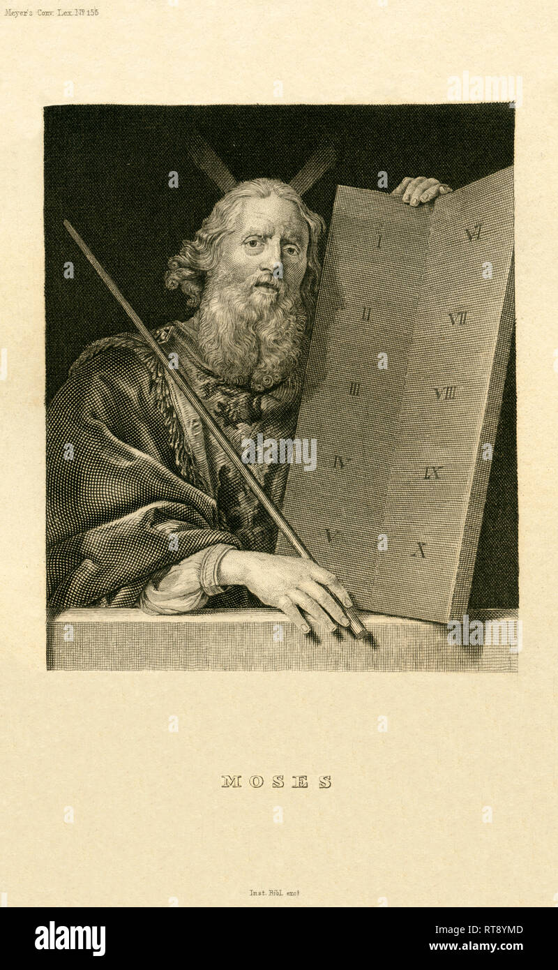 Moses with the ten Commandments, steelengraving from around 1840, from an book of the 19th century ' Meyers Conv. Lex. ', Bibliograph. Inst.., Artist's Copyright has not to be cleared - Stock Image
