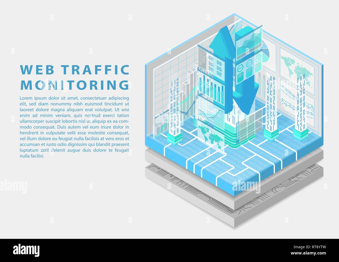 Web traffic monitoring concept with symbol of floating upload and download arrows and various monitoring dashboards as isometric 3d vector illustratio - Stock Image