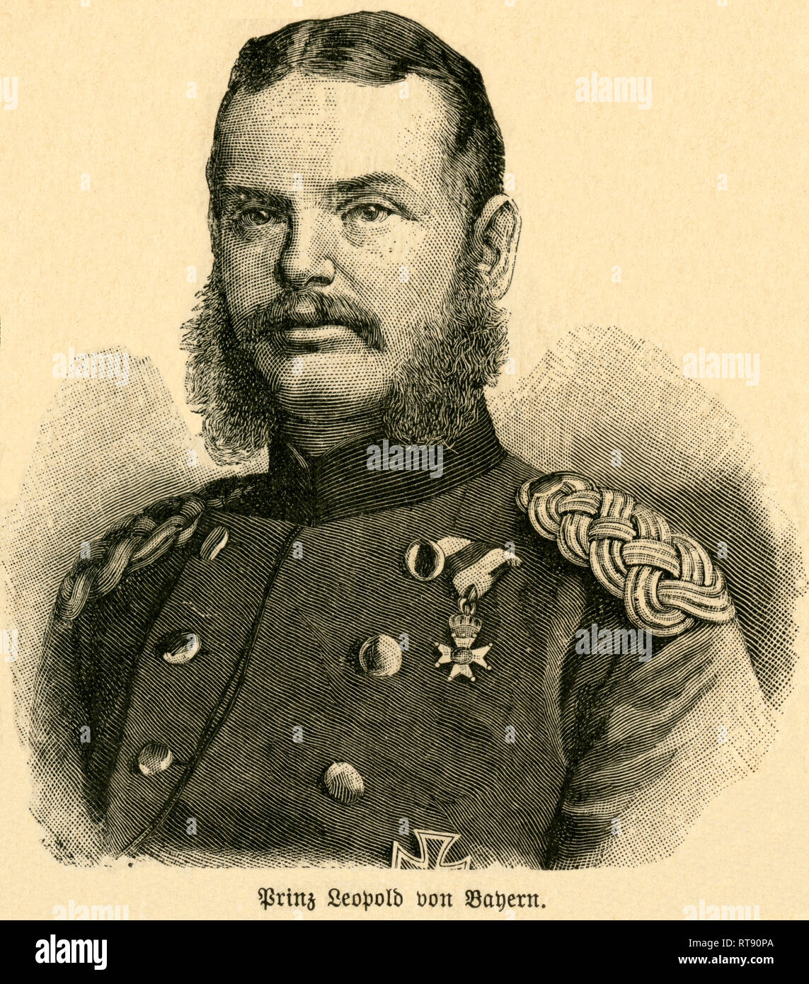 "Prince Leopold of Bavaria, Field Marshall, Prince Leopold of Bavaria, portrait from: ""Deutschlands Heerführer"" (German military leader), 1640-1894, portrayed by Sprößer, publishing house Ferdinand Hirt and son, Leipzig, 1895., Additional-Rights-Clearance-Info-Not-Available Stock Photo"