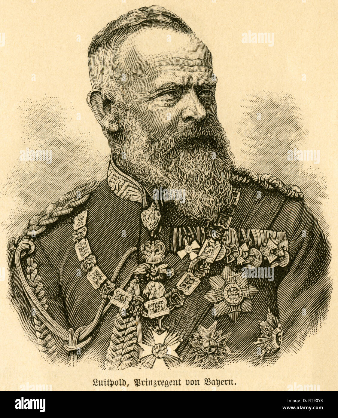 Luitpold, Prince Regent of Bavaria, portrait from: 'Deutschlands Heerführer' (German military leader), 1640-1894, portrayed by Sprößer, publishing house Ferdinand Hirt and son, Leipzig, 1895., Additional-Rights-Clearance-Info-Not-Available - Stock Image