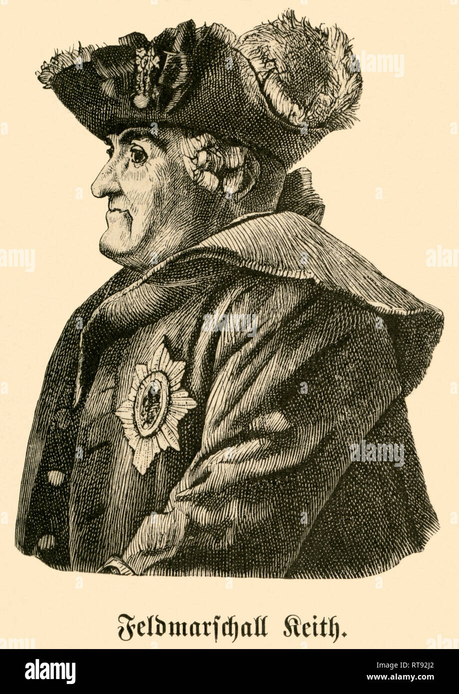 """James Keith, Prussian Field Marshall, portrait from: """"Deutschlands Heerführer"""" (German military leader), 1640-1894, portrayed by Sprößer, publishing house Ferdinand Hirt and son, Leipzig, 1895., Additional-Rights-Clearance-Info-Not-Available Stock Photo"""
