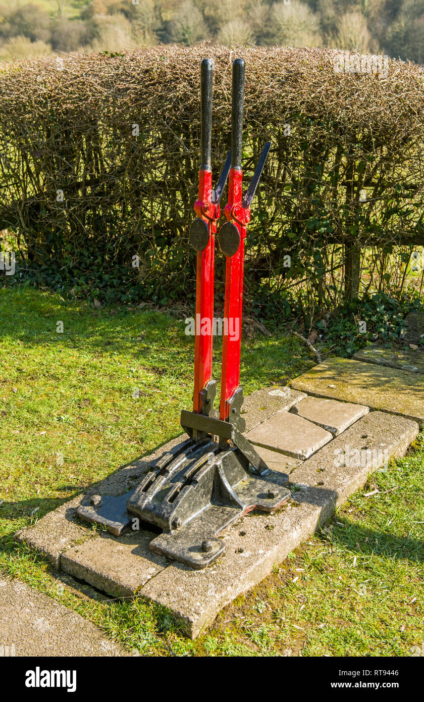 Railway Points Levers at the old Tintern Parva Railway Station Wye Valley Monmouthshire - Stock Image