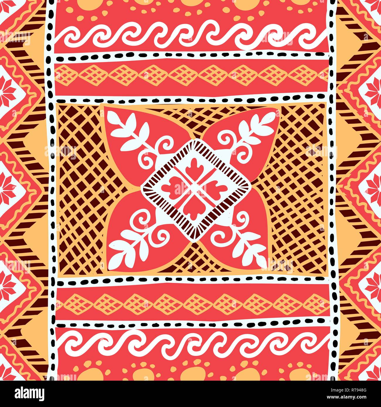 Easter Seamless Pattern with Native Slavonic Ukrainian Pysanka Plant Ornament - Stock Image