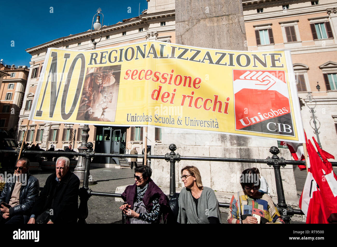 Rome, Italy. 27th Feb, 2019. Protest by the Unicobas trade union, in the Montectorio square, against regionalisation and the process of differentiated autonomy of schools and universities . Credit: Andrea Ronchini/Pacific Press/Alamy Live News - Stock Image