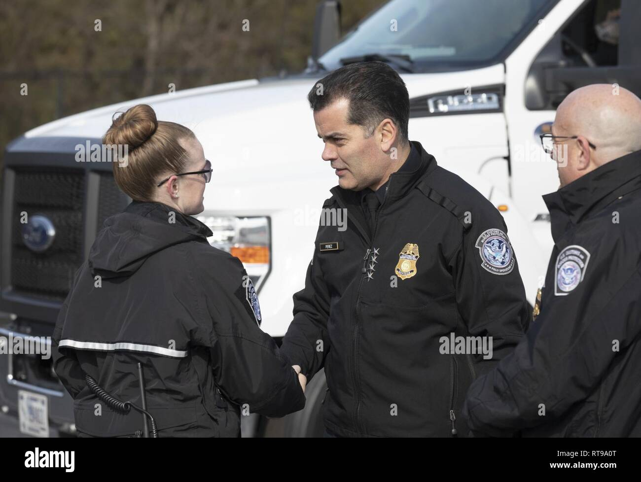 U.S. Customs and Border Protection Deputy Commissioner Robert E. Perez visits with CBP officers conducting Non-intrusive inspections in advance of Super Bowl LIII in Atlanta, Georgia, January 30, 2019. U.S. Customs and Border Protection - Stock Image