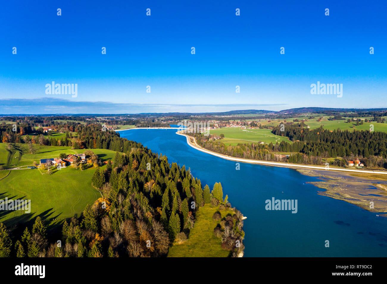 Germany, Bavaria, East Allgaeu, Fuessen, Prem, Aerial view of Lech reservoir - Stock Image