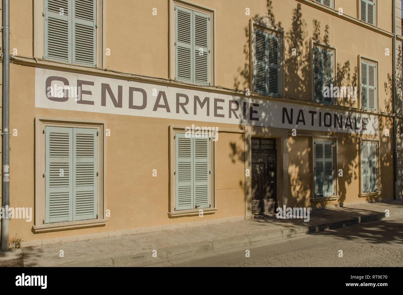 SAINT TROPEZ FRANCE SEP 2018  the Gendarmerie Nationale building where movies with Louis de Funes were shot in Saint Tropez town, Provence, France - Stock Image