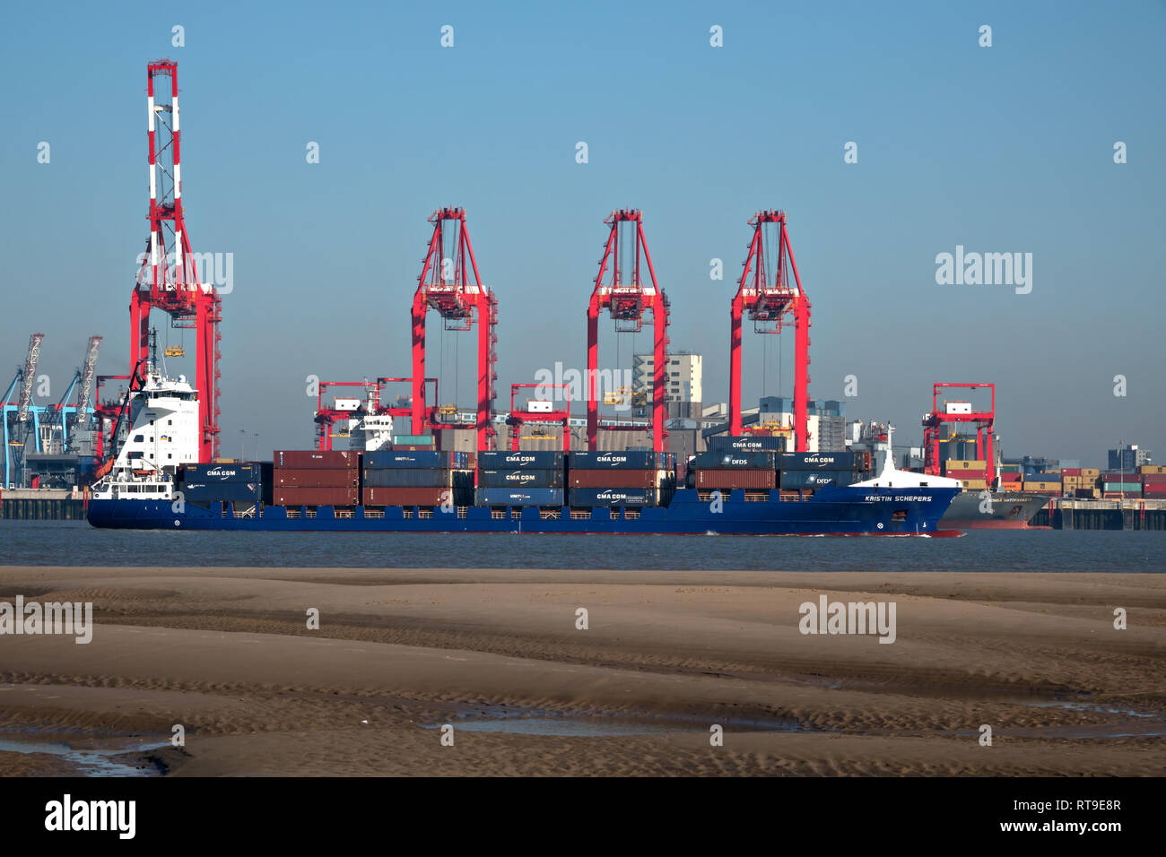 Container ship KRISTIN SCHEPERS on the River Mersey Liverpool UK. Stock Photo