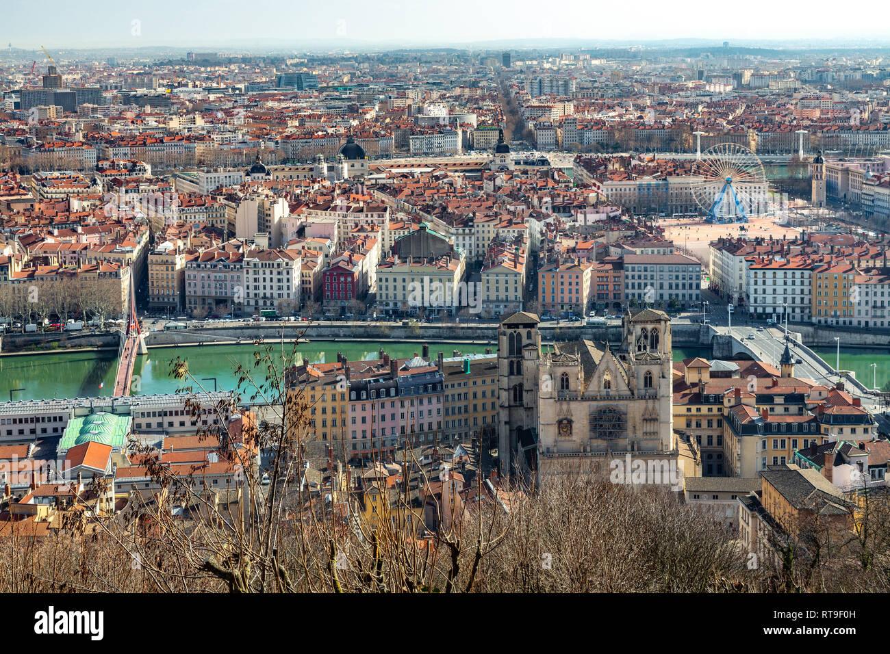 view of Lyon from Fourvière, Lyon Stock Photo