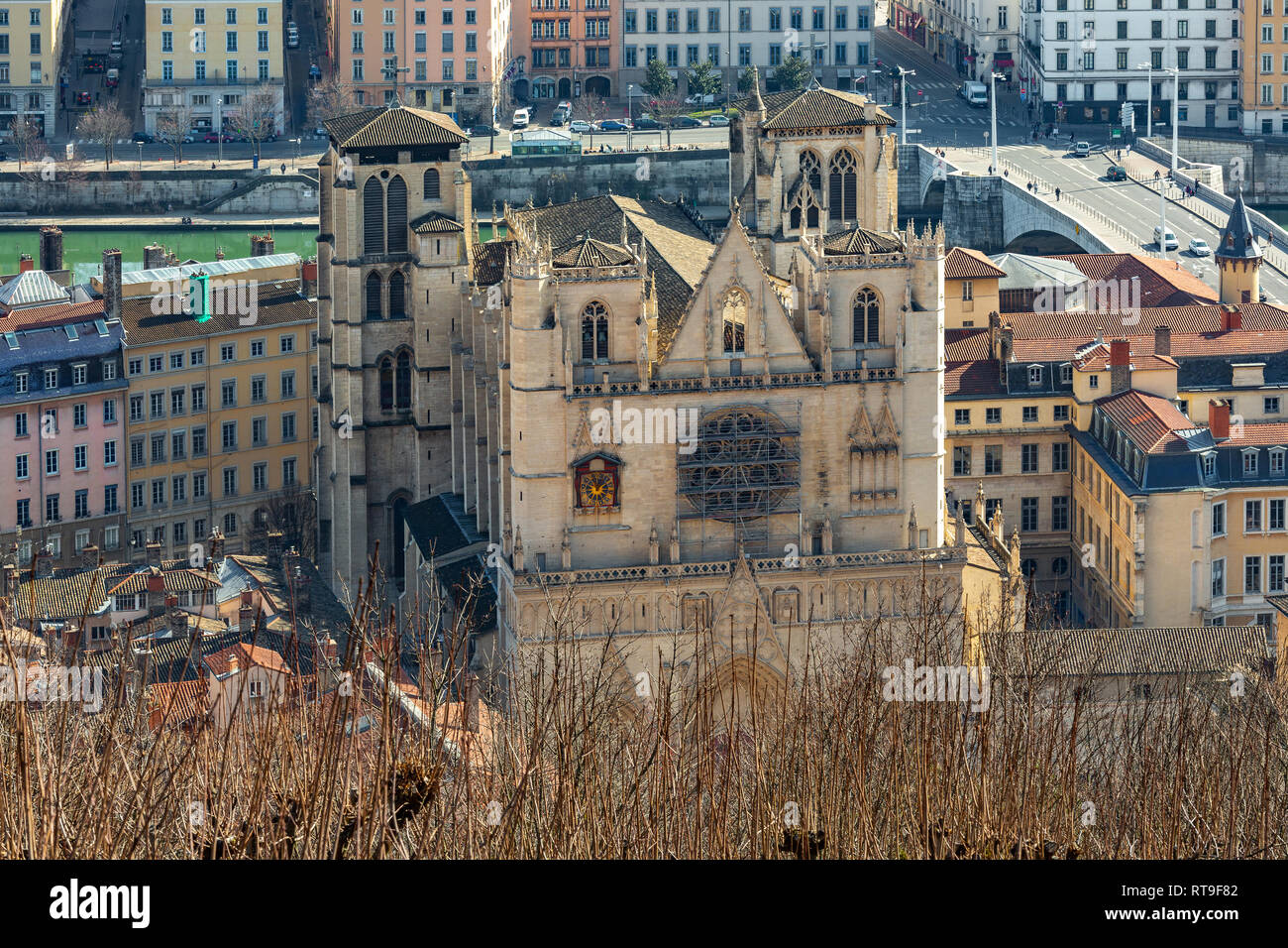view of Saint Jean Cathedral from Fourvière, Lyon Stock Photo