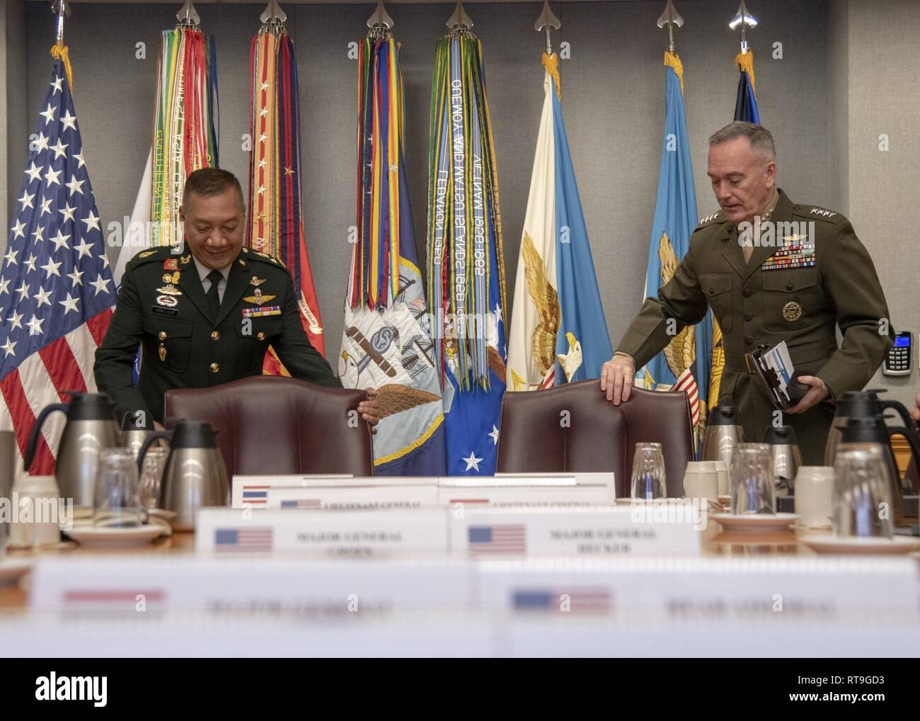 Marine Corps Gen. Joe Dunford, chairman of the Joint Chiefs of Staff, hosts his counterpart Chief of Defence of the Royal Thai Armed Forces Gen. Pornpipat Benyasri at the Pentagon, Jan. 29, 2019. DoD Stock Photo