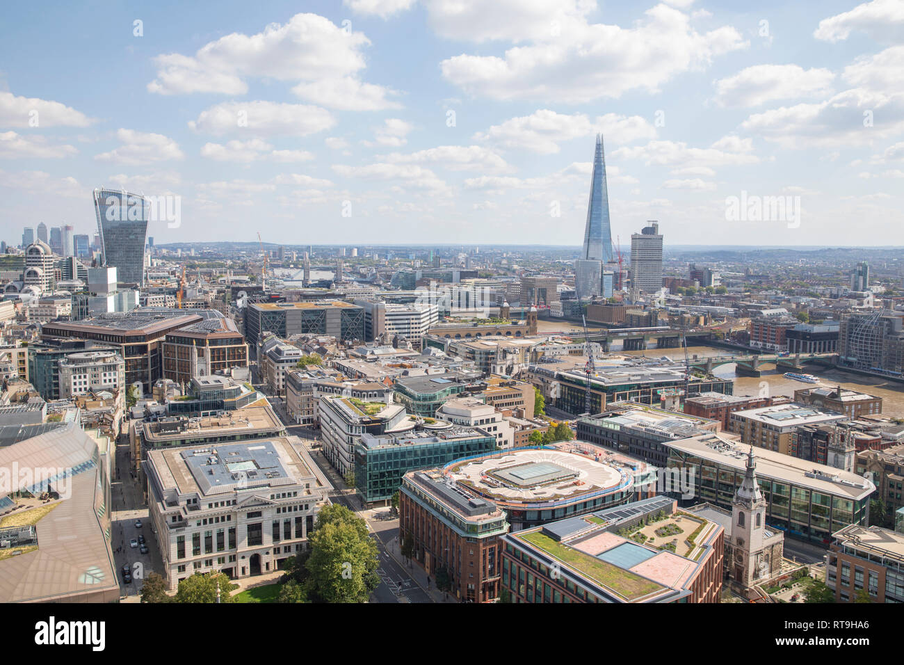 The Shard & 20 Fenchurch Street, as seen from the Golden Gallery of St. Paul's Cathedral. - Stock Image