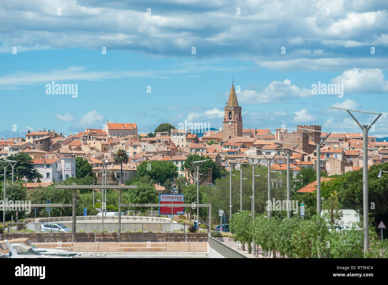 View from Port Frejus to the old town of Frejus, Var, Provence-Alpes-Cote d`Azur, France, Europe - Stock Image