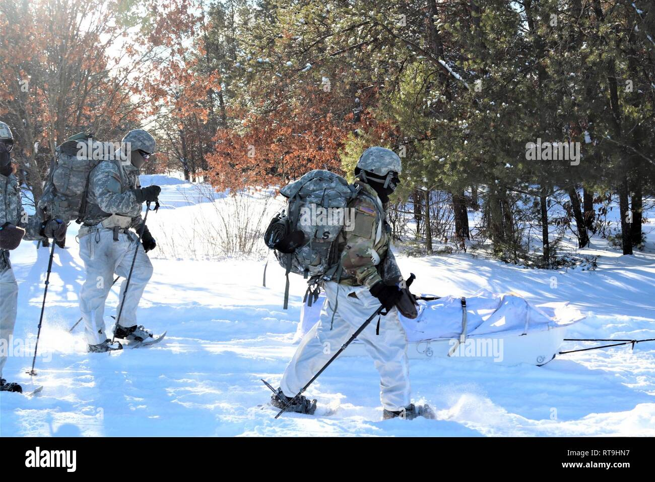 42e5fe79cef08 Students in Cold-Weather Operations Course (CWOC) Class 19-03 complete a  ruck march in below-zero temperatures while wearing snowshoes and backpacks  while ...