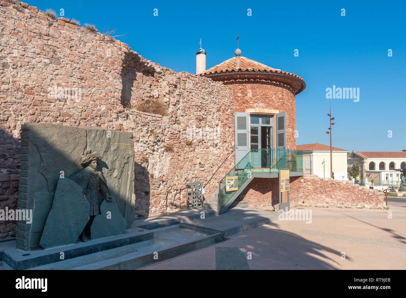 Historic city wall at Place Clemenceau, Frejus, Var, Provence-Alpes-Cote d`Azur, France, Europe - Stock Image
