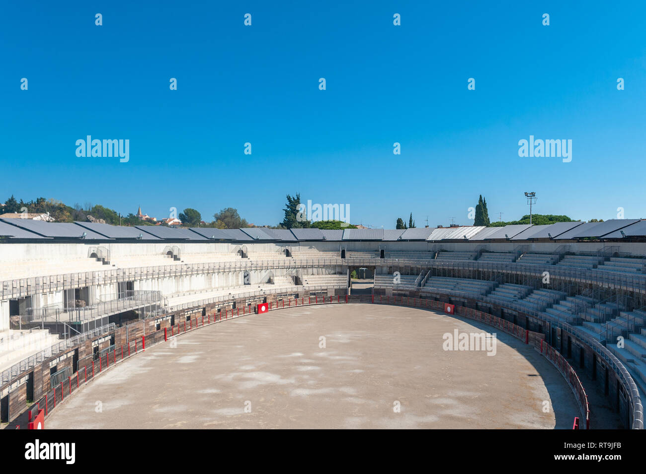 Arena of the historic amphitheatre, Frejus, Var, Provence-Alpes-Cote d`Azur, France, Europe - Stock Image