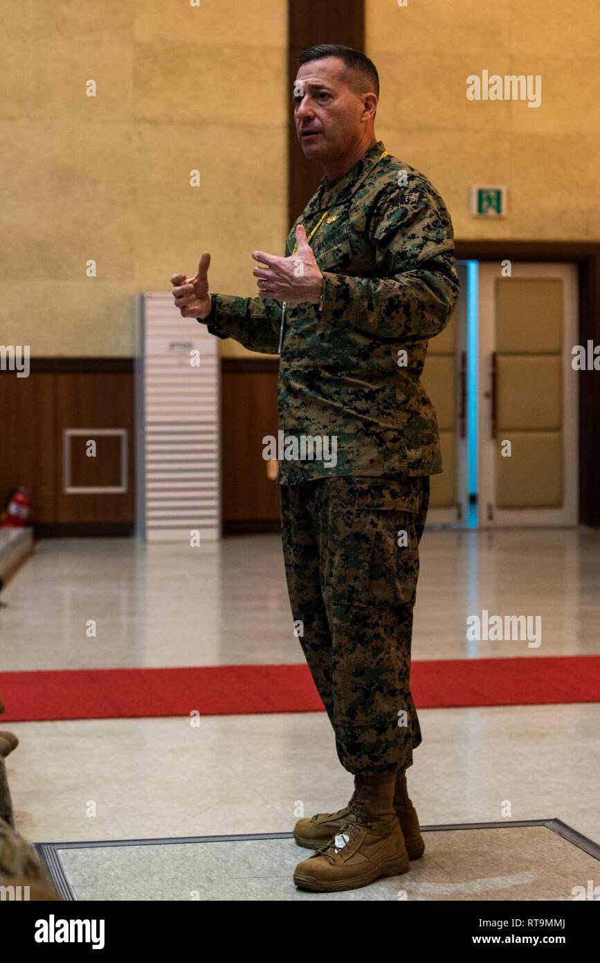 BUSAN, Republic of Korea (Jan. 31, 2019) U.S. Marine Corps Sgt. Maj. Anthony A. Spadaro, senior enlisted leader of U.S. Indo-Pacific Command, speaks with Sailors assigned to Commander, U.S. Naval Forces Korea (CNFK) during an all-hands call at Commander, Republic of Korea (ROK) Fleet headquarters. Spadaro's visit included all-hands calls with service members on the peninsula as well as engagements with key senior enlisted U.S. and ROK military members. Stock Photo