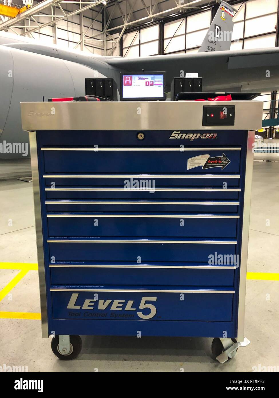 """A Snap-on """"smart toolbox"""" is on display during a technology"""