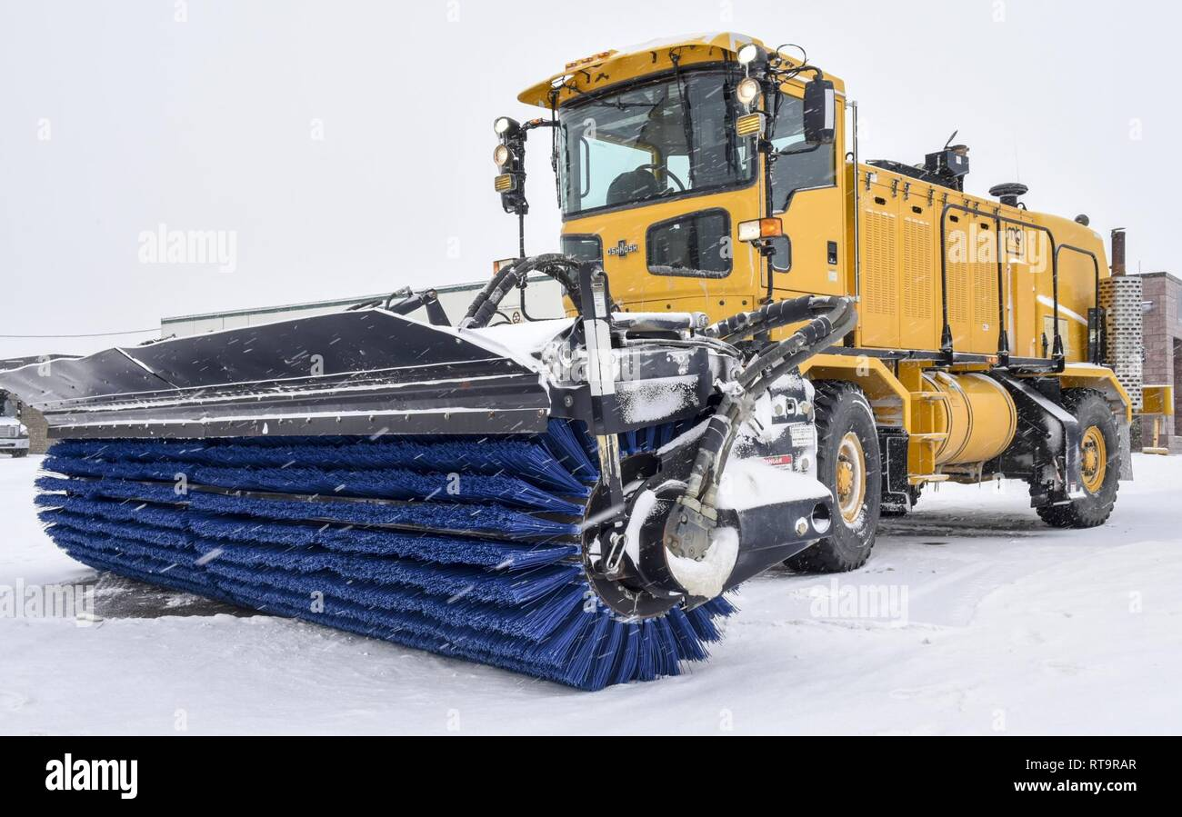 A snow broom at the 171st Air Refueling Wing near Pittsburgh is parked in idol on the aircraft parking ramp in preparation of the morning snowfall Feb. 1, 2019. Stock Photo