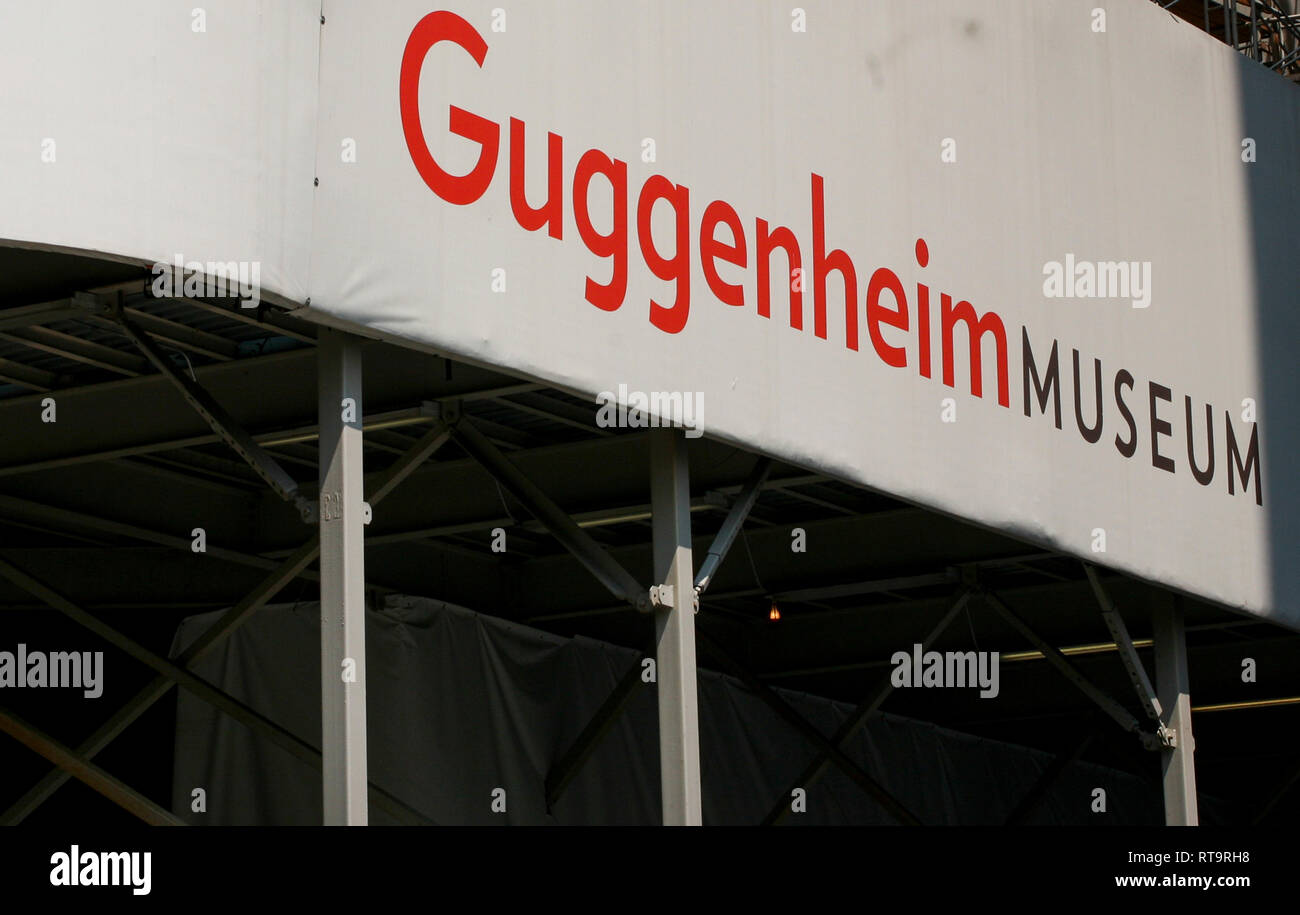 Sign for Guggenheim museum in New York,temporary under renovation - Stock Image
