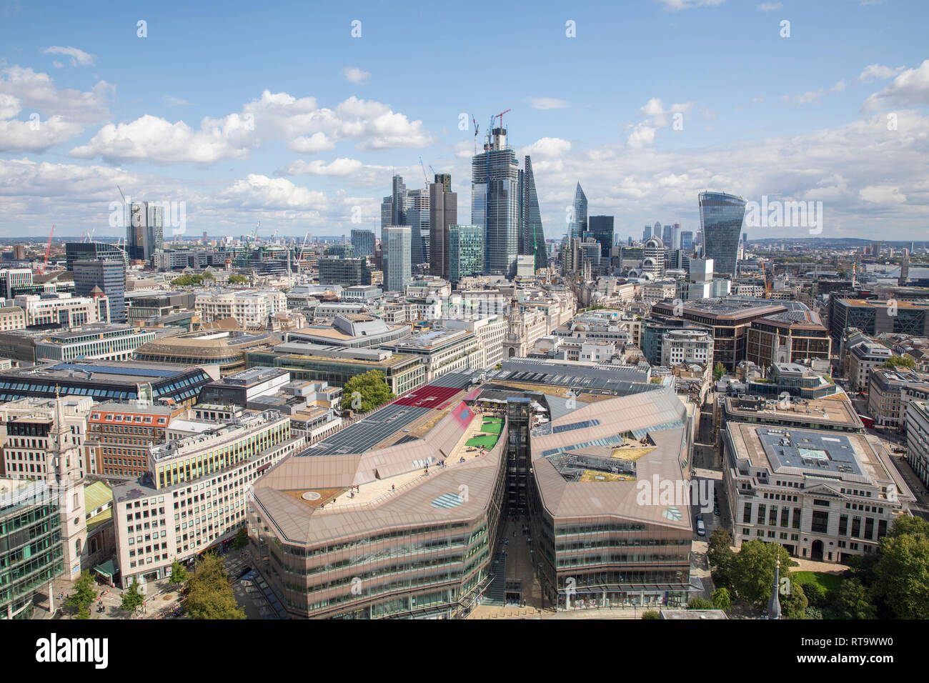 View of the City of London, as seen from the Golden Gallery of St. Paul's Cathedral. One New Change is in the foreground. - Stock Image