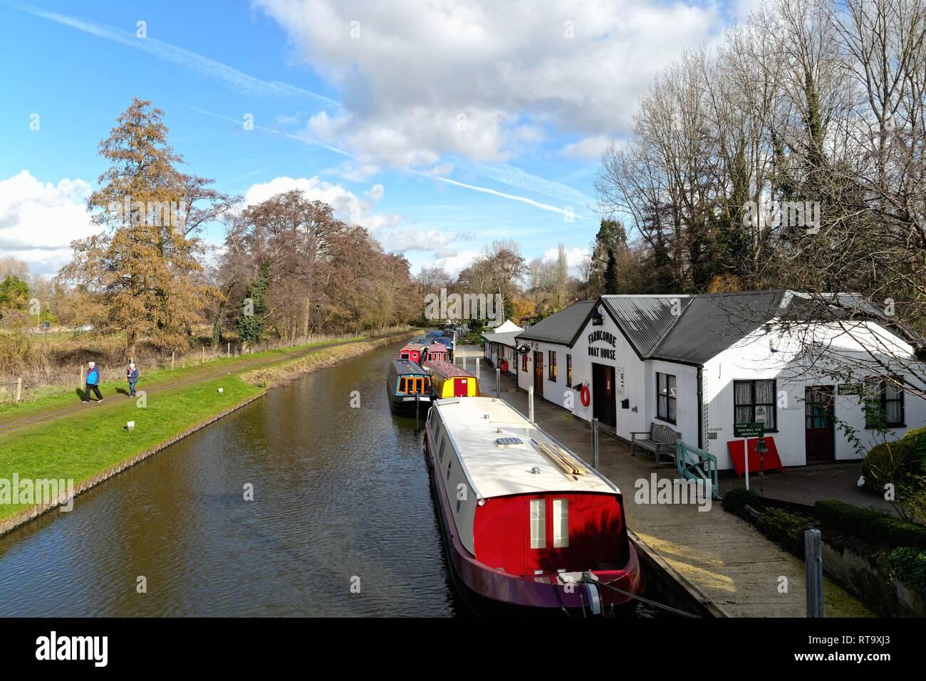 The River Wey navigation at Godalming Surrey England UK - Stock Image