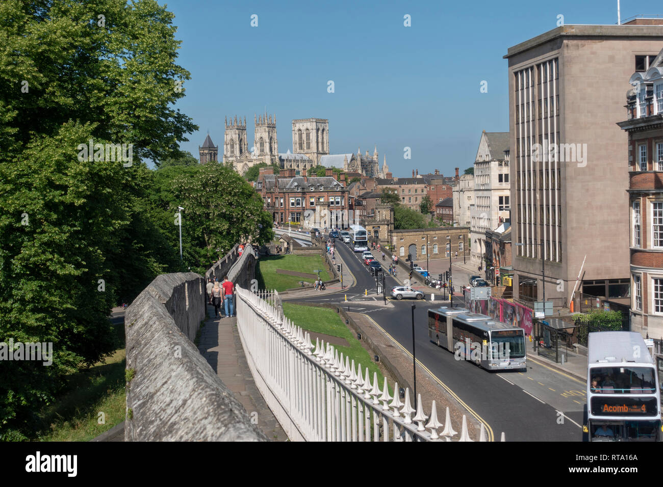York Minster viewed from the city walls, City of York, UK. - Stock Image