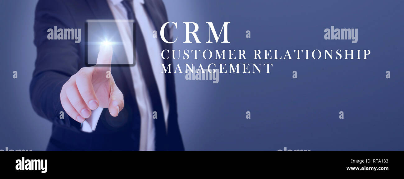 manager touch crm customer relationship management button - Stock Image