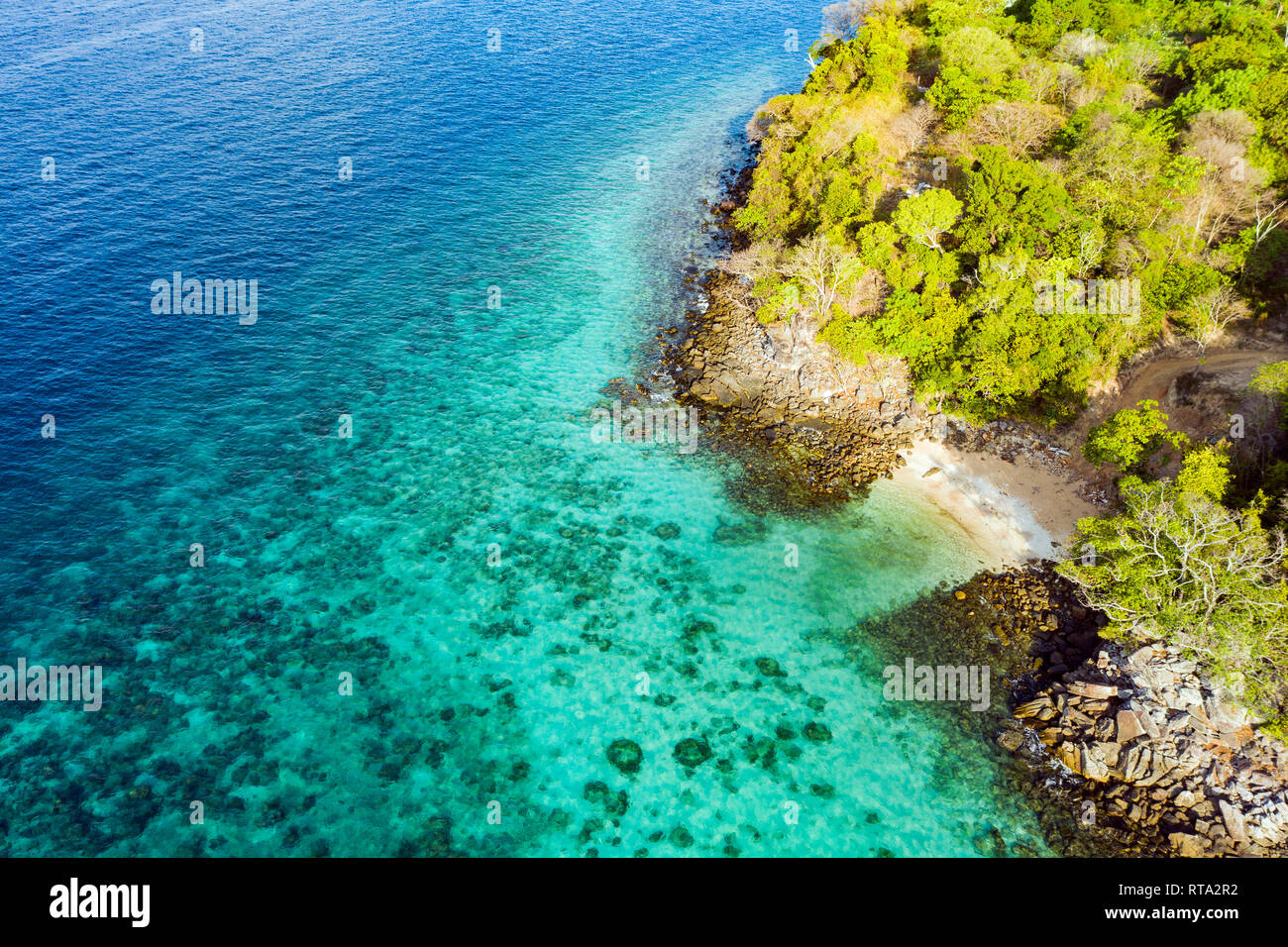 View from above, aerial view of a beautiful tropical beach