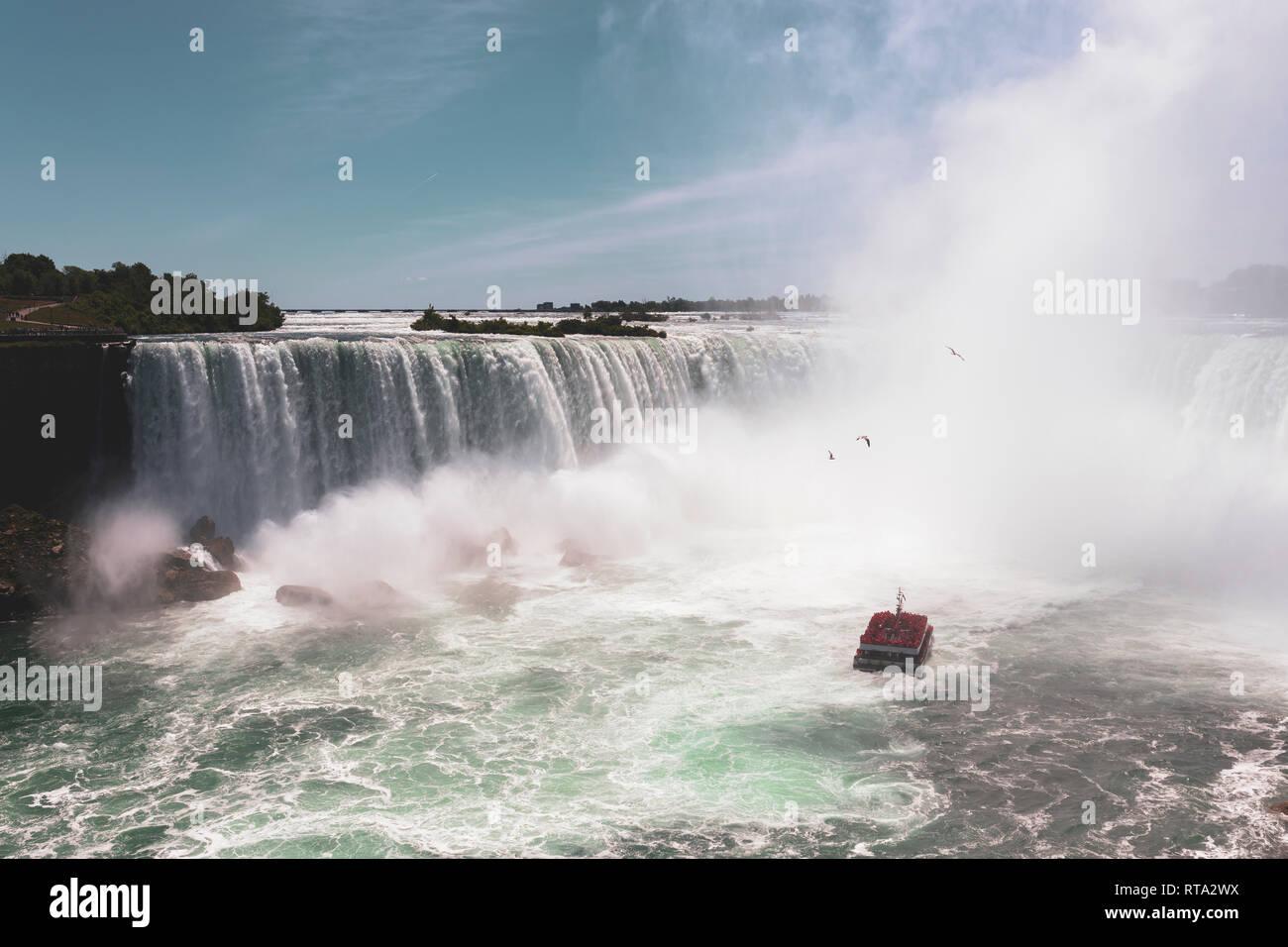 Niagara Falls Famous Tour Boat Under Horseshoe Waterfall In