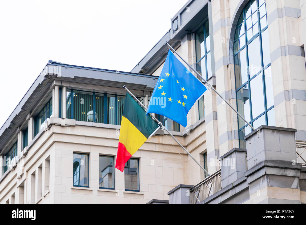 Europe European and Belgian Flag Commission Brussels EU - Stock Image