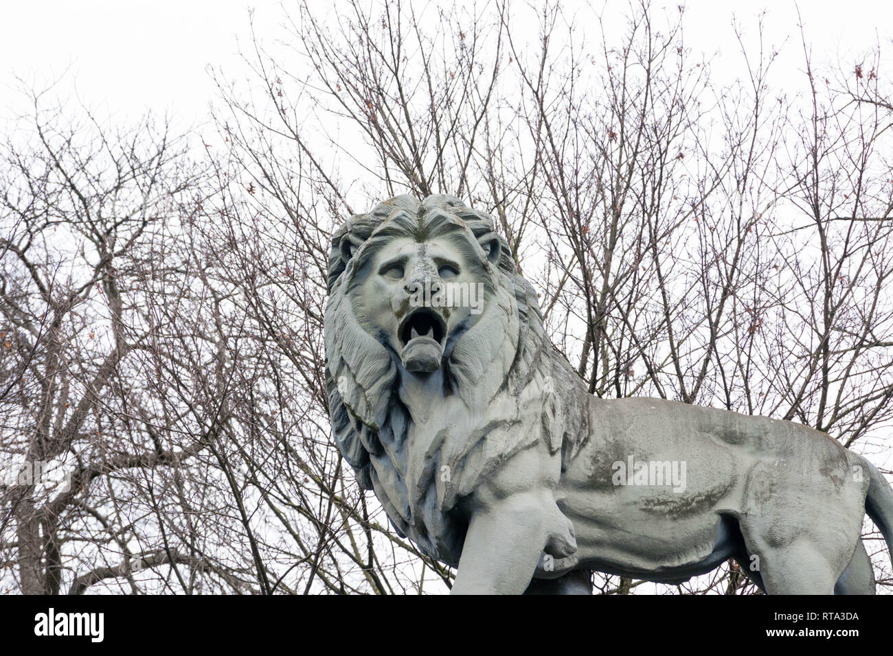 Lions Statue at the entrance of the Royal park in Brussels Belgium Stock Photo