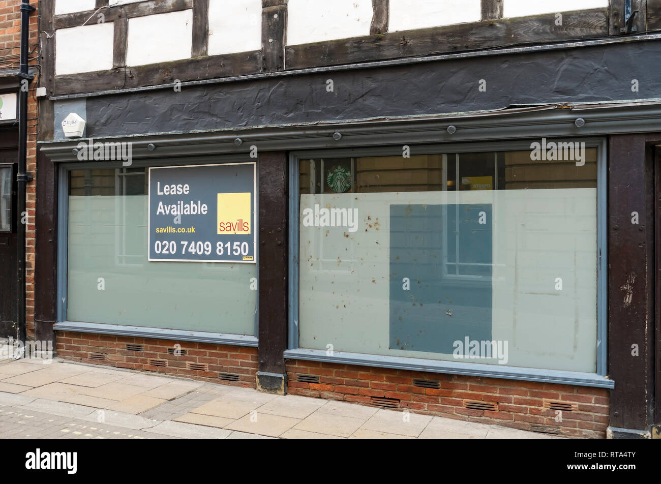 Empty shop in the city centre York North Yorkshire England UK United Kingdom GB Great Britain - Stock Image