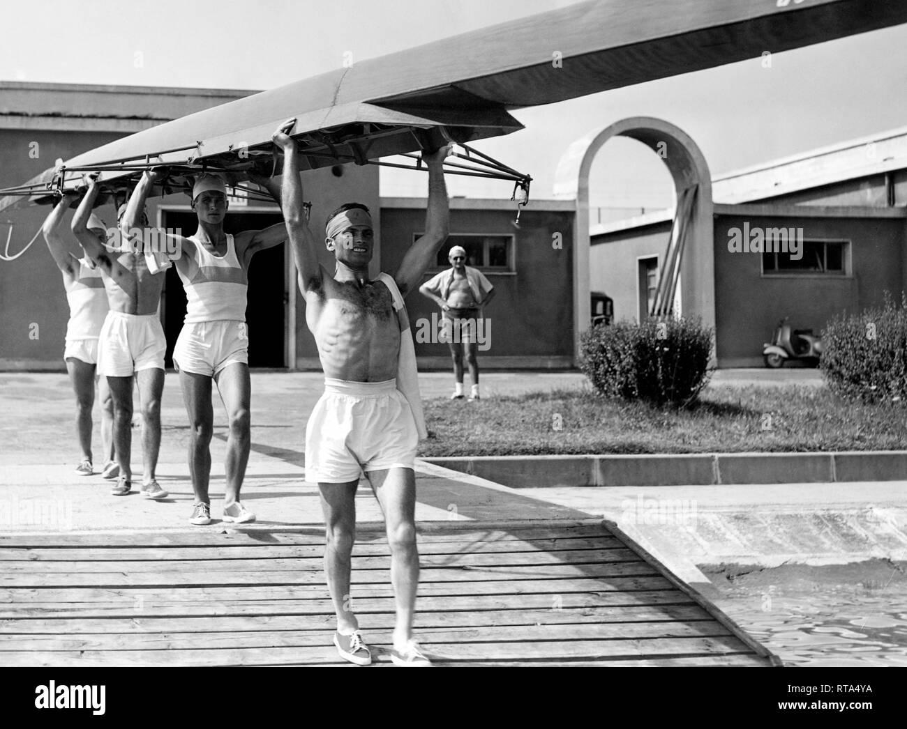 canottieri sebino, lovere, lombardia, italy 1952 - Stock Image