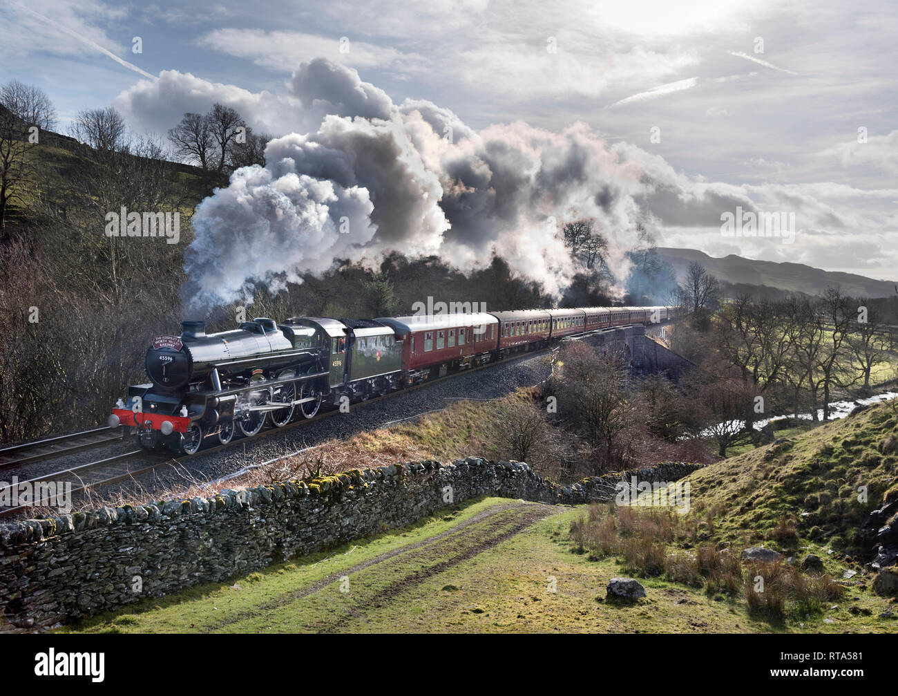 Steam locomotive 'Bahamas' hauls a railtour on the Settle-Carlisle railway line, from the Keighley and Worth Valley Railway to Carlisle. - Stock Image