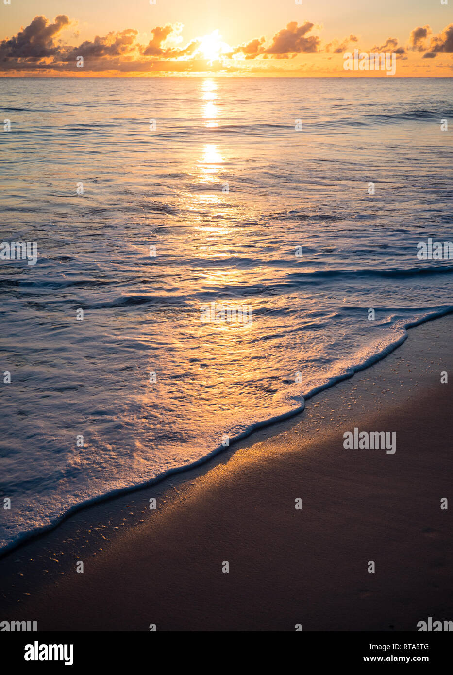 Waves Hitting Tropical Beach, Sunrise above sea, Island of