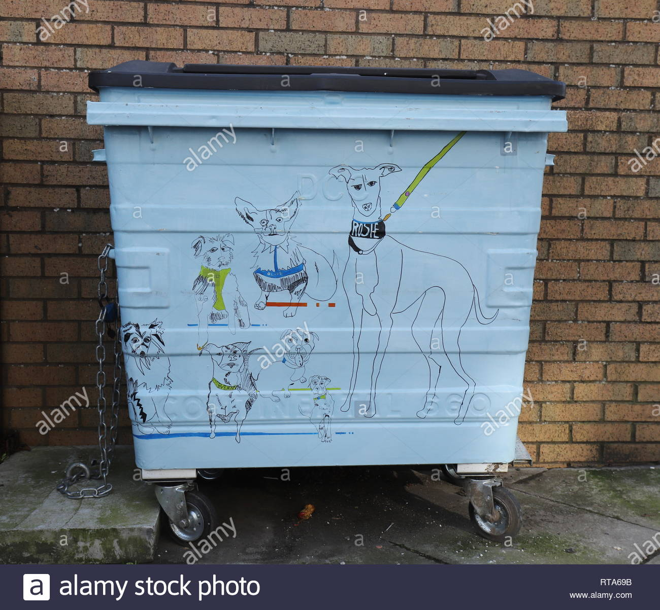 Waste of Space brightly painted waste and recycling bins Perth Road Dundee Scotland  February  2019 Stock Photo
