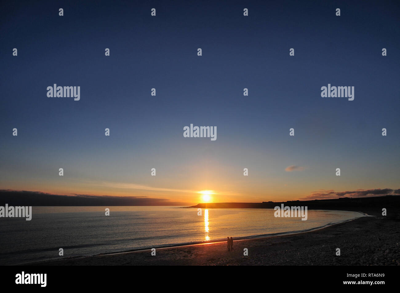 Stunning sunset on Orkney, Scotland - Stock Image