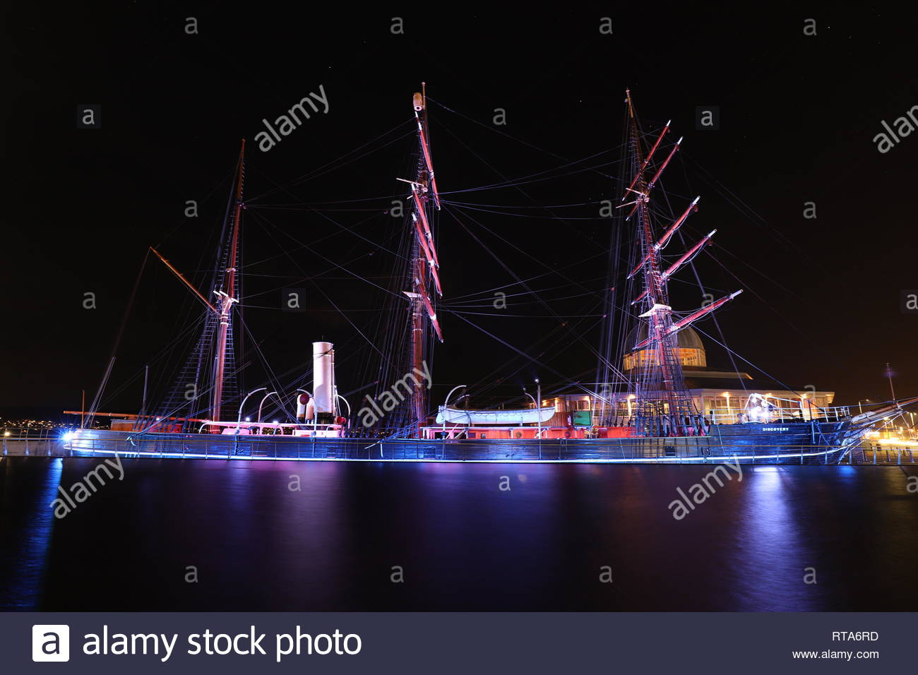 RRS Discovery by night Dundee Scotland  February 2019 Stock Photo