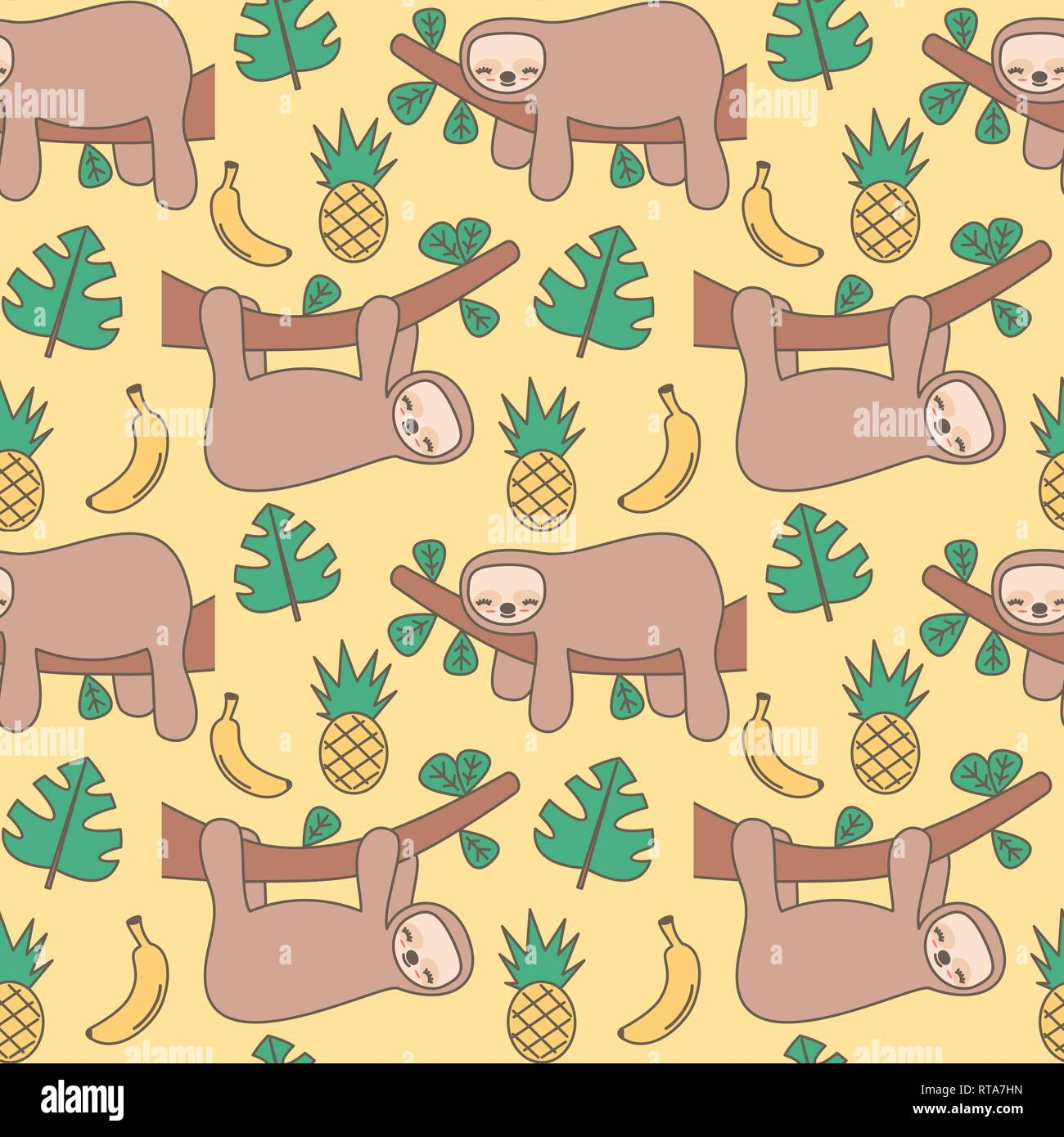 Cute Cartoon Sloth Seamless Vector Pattern Background Illustration Stock Vector Image Art Alamy