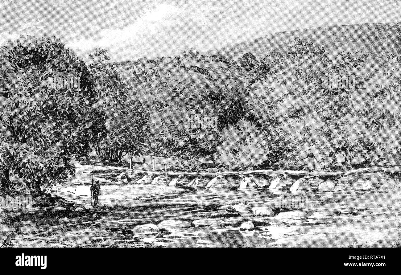 An illustration of the River Barle flowing under Tarr Steps on Exmoor Somerset UK scanned at high resolution from a book printed in 1890. - Stock Image