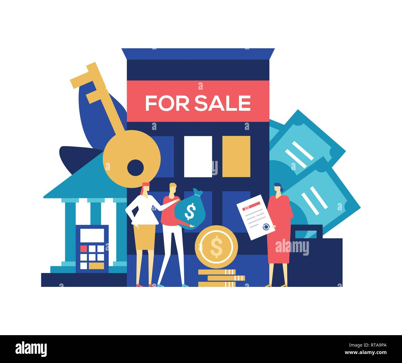 Real estate deal - colorful flat design style illustration - Stock Vector